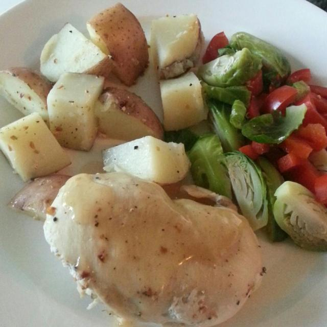Chicken, veggies, potatoes